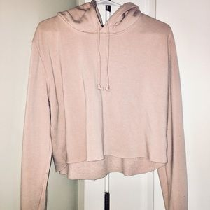 Rose colored Cropped Brandy Melville hoodie